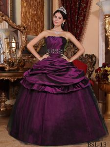 2012 Hot Sale Purple Strapless Beaded Quinceanera Gown Dress