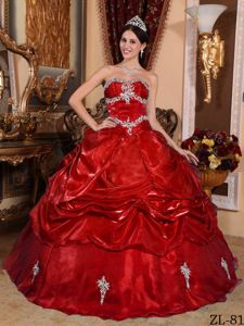 Low Price Wine Red Appliqued Quinceanera Gown about 200