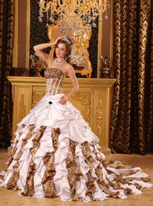 Colorful Court Train Leopard Print Corset Quinceanera Dresses