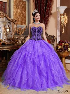Simple Ruffled Light Purple and Black Corset Dress for Sweet 15