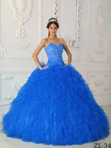 Greatest American Dog 2014 Ball Gown Sweetheart Blue Sweet 15 Dress with Rhinestones