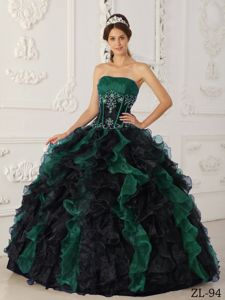 Low Price Green and Black Ball Gown Ruffled Quinceanera Dress