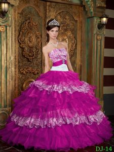 Fuchsia Strapless Ruffled Layers Sweet 16 Dresses with Zebra Print Jessica Simpson dress
