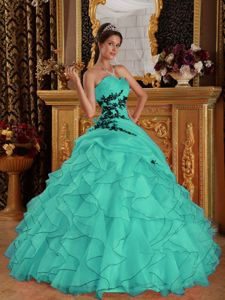 Pretty Turquoise Ruffles Appliques Quinceanera Dresses in Fashion
