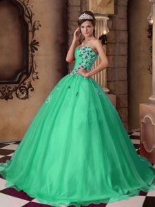 Green Quinceanera Party Dress Sweetheart with Beading Appliques
