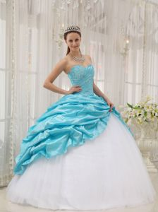 Aqua Blue and White Sweetheart Ruche Beaded Quinces Dresses with Pick-ups