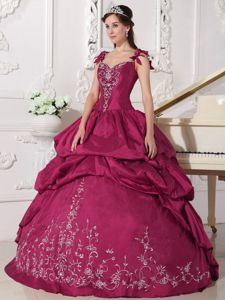 Exquisite Strapless Embroidery Dresses Quinceanera with Pick-ups