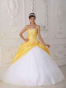 Customize Yellow and White Sweet Sixteen Dresses with Beading