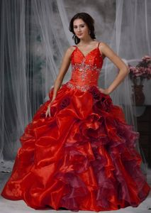 Cheap Spaghetti Straps Ruffled Beaded Red Quinceanera Dress