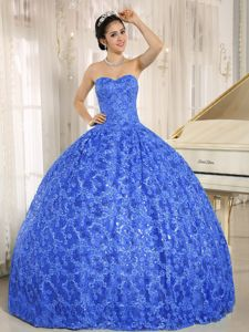 Shimmery Special Embossed Fabric Blue Quinceanera Gowns