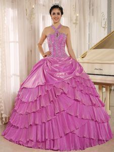 Discount Beaded Tiered Hot Pink Halter Quinceanera Party Dress
