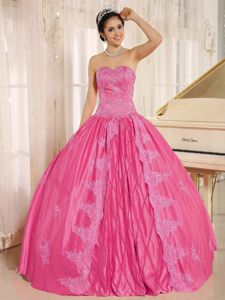 Wholesale Sweetheart Appliqued Hot Pink Sweet Sixteen Dresses