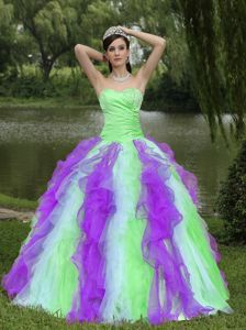 Sweetheart Colorful Ruffled Beaded Sweet 15/16 Birthday Dress