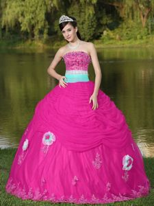 Discount Hot Pink Sweet 16 Dresses with Flowres and Appliques