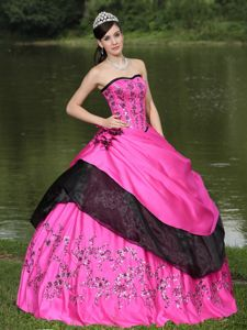 Custom Made Appliqued Hot Pink and Black Quinceanera Dresses