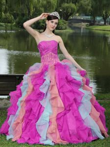 Corset Ruffled Appliqued Multi-color Sweet Sixteen Dresses Shop