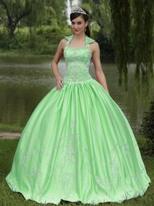 Appliqued Spring Green Halter Quinceanera Dresses about 200