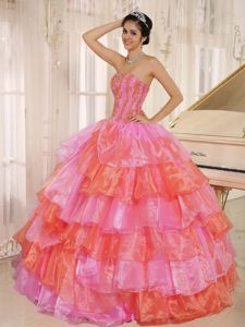 Multi-color Appliqued Ruffled Organza Quinceanera Party Dress