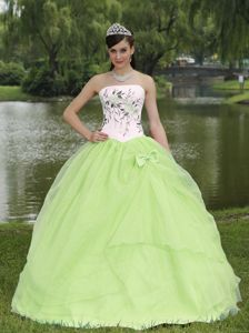 Wholesale Yellow Green and White Quince Dress with Embroidery
