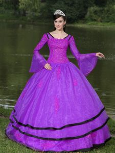 Long Sleeves Appliqued Purple Dresses for Sweet 15 for Rent