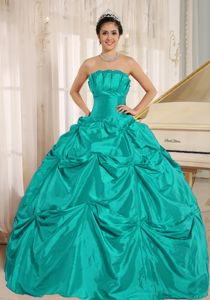Simple Ball Gown Floor-Length Turquoise Quinceanera Dress
