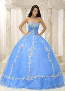 Pretty Baby Blue Appliqued Beaded Quinceanera Gown Dresses