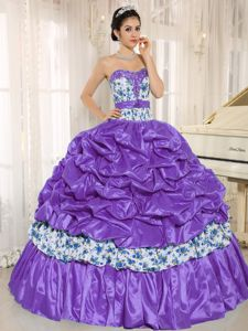 Pick-ups Beaded Printing Multi-color Quinceanera Party Dress