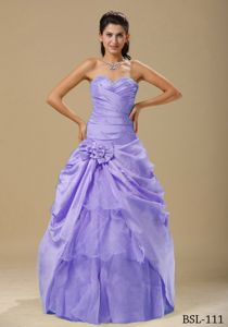 Discount Sweetheart Lilac Beaded Quinceanera Gown with Flower
