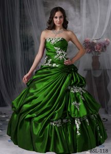 Hot Sale 2012 Strapless Appliqued Dark Green Sweet 16 Dress