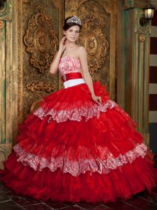 Keren Anns Red Strapless Multi-tiered Zebra Decorate Quince Dresses with Sash