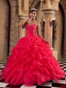 Coral Red Strapless Beading Appliques Ruffled Dress for Sweet 15