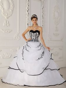 White and Black Satin and Organza Appliques Quinceanera Gown