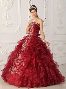 Perfect Wine Red Strapless Embroidery Quince Dresses with Ruffles