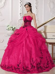 Hot Pink and Black Strapless Pick-ups Embroidery Sweet 16 Dresses