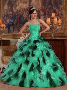 Green and Black Strapless Beading Ruches Ruffles Quinceanera Gowns