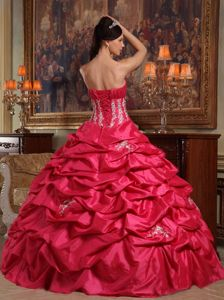 Chic Coral Red Strapless Lace up Back Pick-ups Dress for Quinceanera
