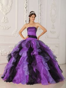 Organza Strapless Multi-colored Ruffles Appliqued Dresses of 15