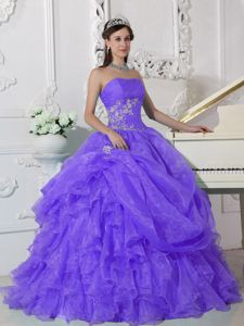 Popular Strapless Ruffles and Pick-ups Appliqued Quince Dresses