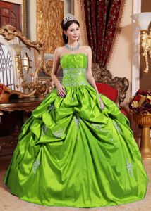 Spring Green Strapless Appliques Dress for Quinceanera with Appliques