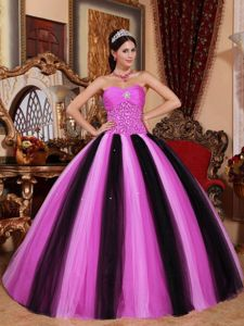 Beading Strapless Hot Pink and Black Pleats Quinceanera Gowns