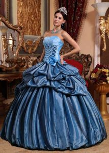 Aqua Blue Pick-up and Hand Made Flowers Pleated Sweet 15 Dresses
