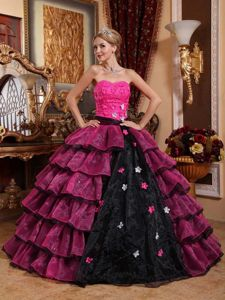 Luxurious Colorful Multi-tiered Strapless Appliques Quince Dresses