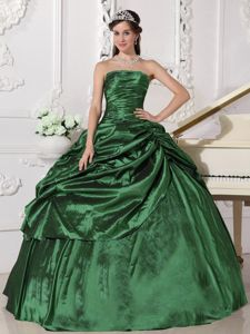 Perfect Green Ruched Bodice Pick-ups Strapless Sweet 15 Dresses