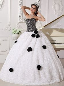 White and Black Sequins and Hand Made Flowers Quince Dresses