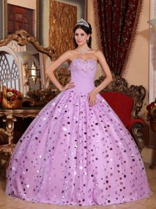 Lilac Strapless Appliques Dresses for a Quince with Sequins