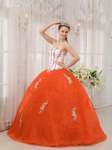 White and Orange Appliques Taffeta and Organza Quinces Dresses