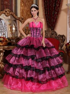Colorful Multi-tiered Strapless Quinces Dresses with Ruches Plus