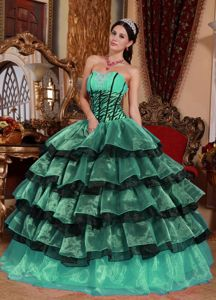 Multi-colored Strapless Ruched Bodice Tiered Quinceanera Gowns