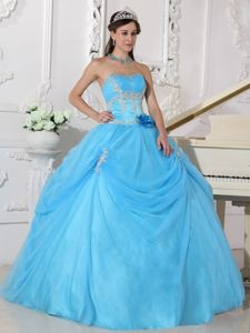 Sky Blue Strapless Appliques Hand Made Flowers Quince Dresses