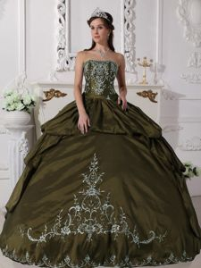 Olive Green Embroidery Pick-ups Ball Gown Strapless Quinces Dress